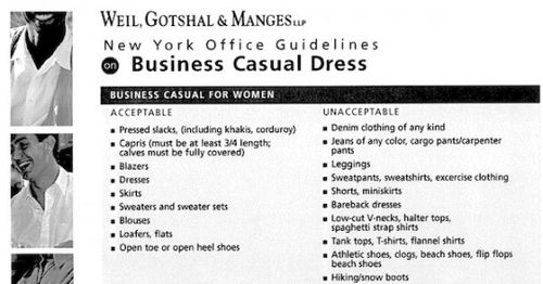 Weil Dress Code (Women)