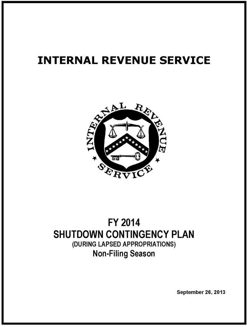FY2014 IRS Shutdown Plan