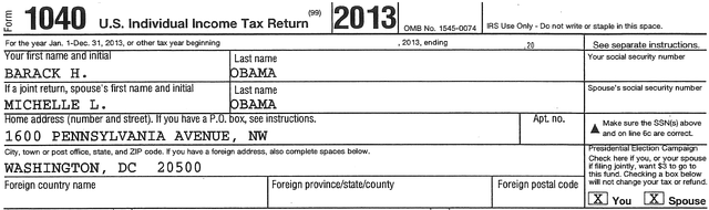 Obama 2013 Tax Return