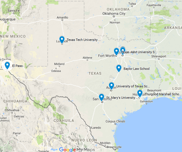 Texas Law School Map
