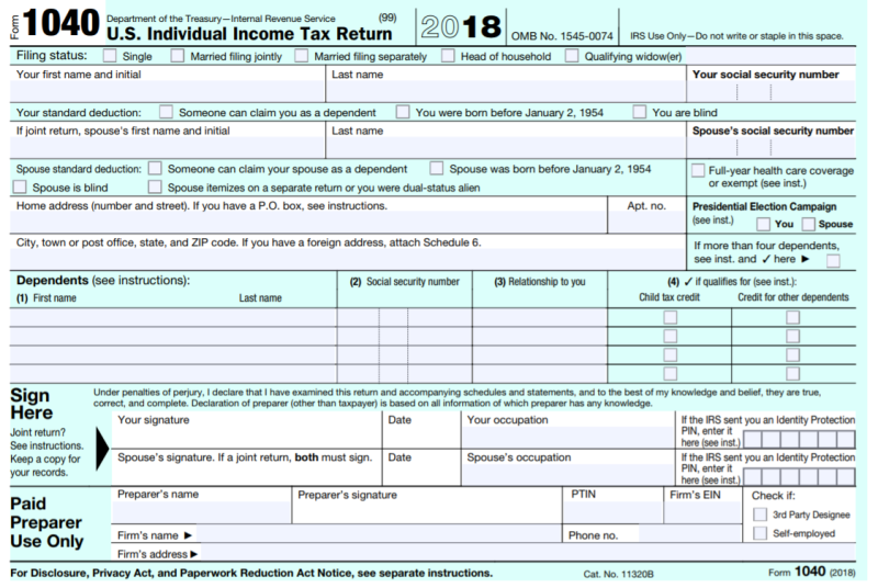 irs form 1040 for 2018  TaxProf Blog